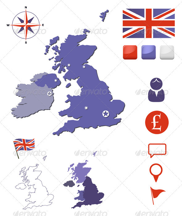 GraphicRiver United Kingdom Map And Icons Set 3794364