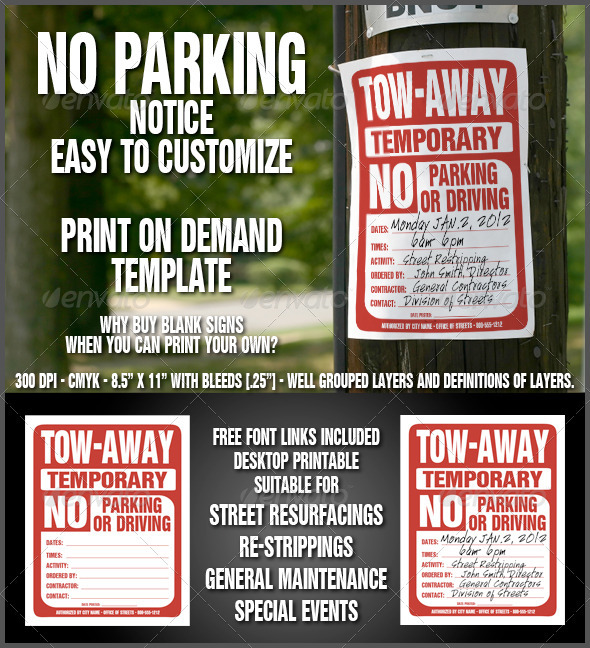 No Parking Sign - Miscellaneous Events