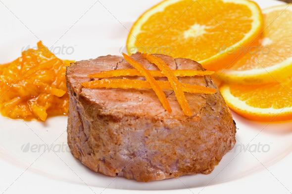 PhotoDune fried tuna fillet with fresh orange and orange sauce 3794992