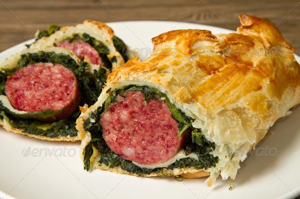 PhotoDune italian cotechino in crust with spinach 3794993