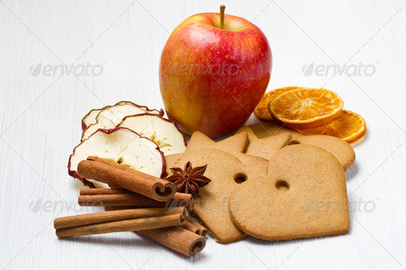 PhotoDune fresh apple with biscuit cinnamon and fruit dried 3794998