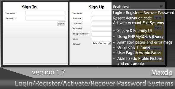 CodeCanyon Ajax-PHP Login-Register-Activate-Recover System 309060