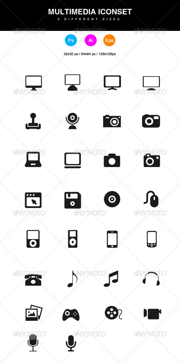 GraphicRiver Multimedia Icons 3795159