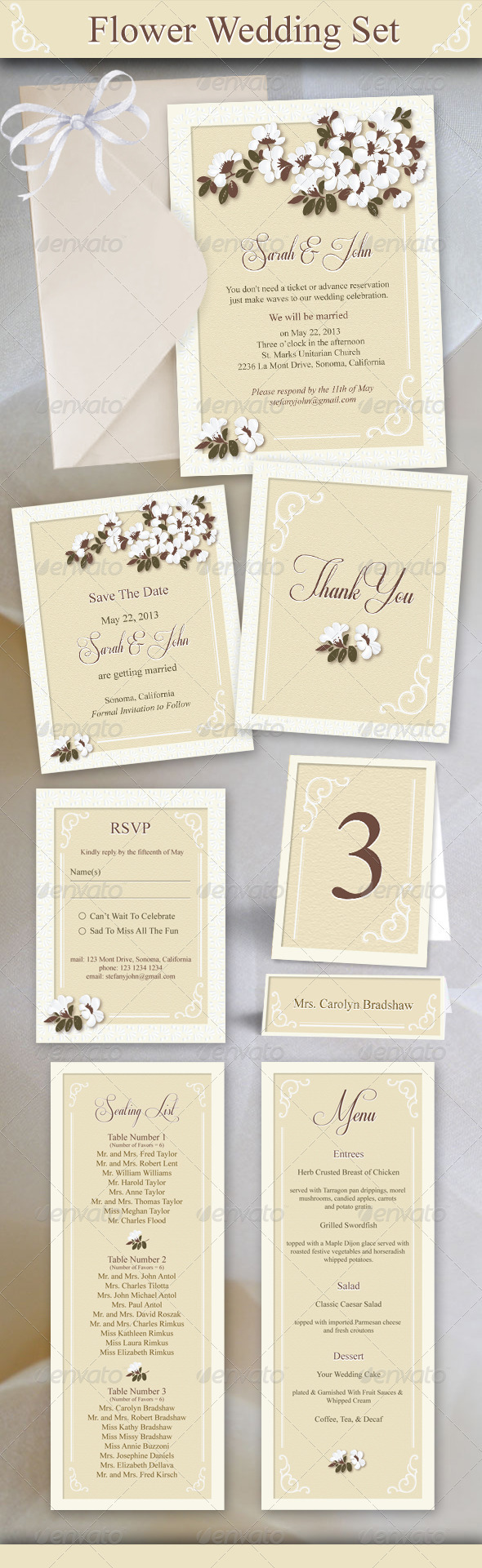 GraphicRiver Flower Wedding Set 3795390