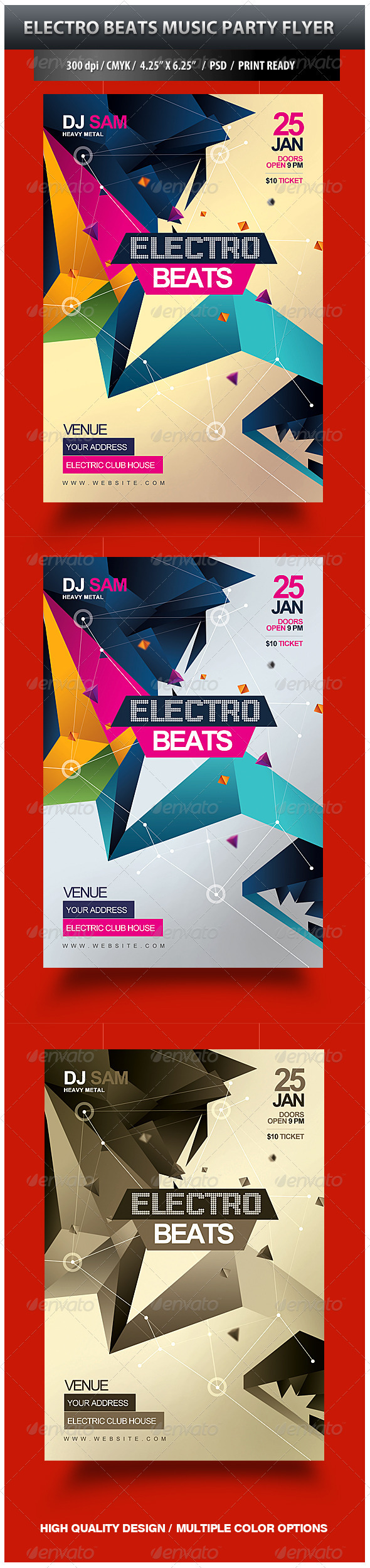 Electro Beats Music Party Flyer - Clubs & Parties Events
