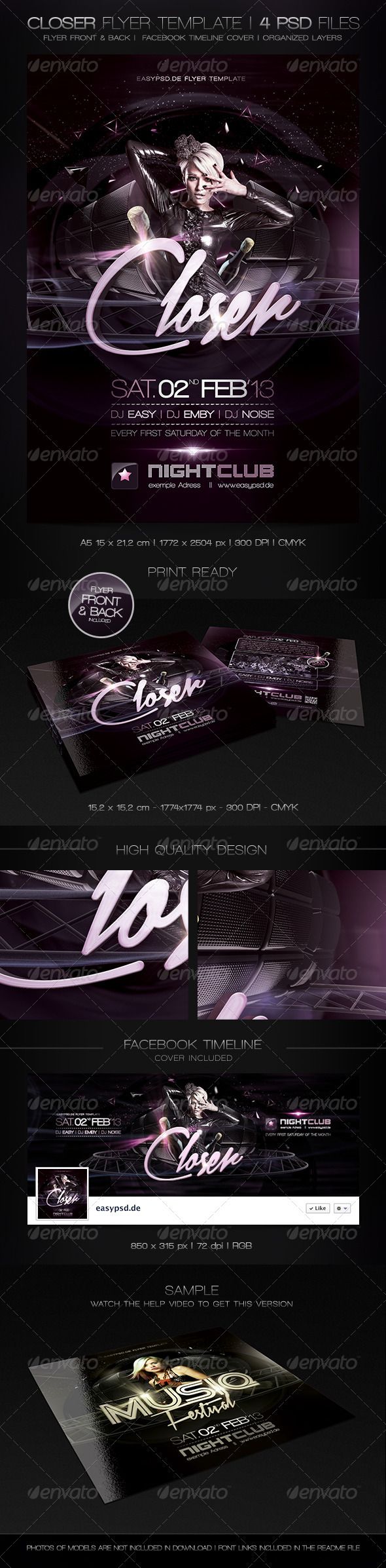 Closer Flyer Template - Clubs & Parties Events