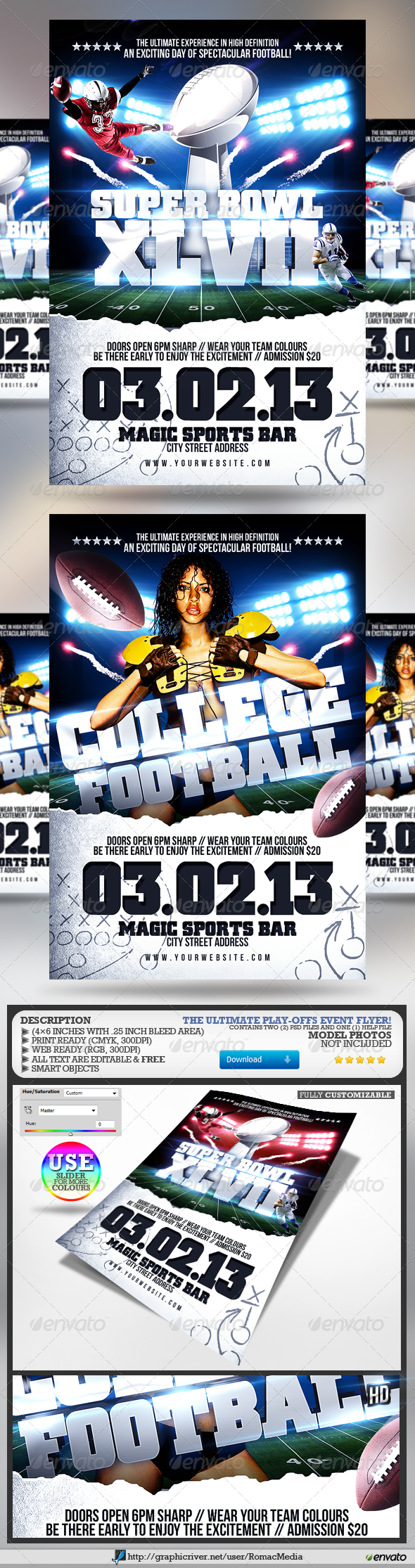GraphicRiver Super Bowl College Football Flyer 3797688