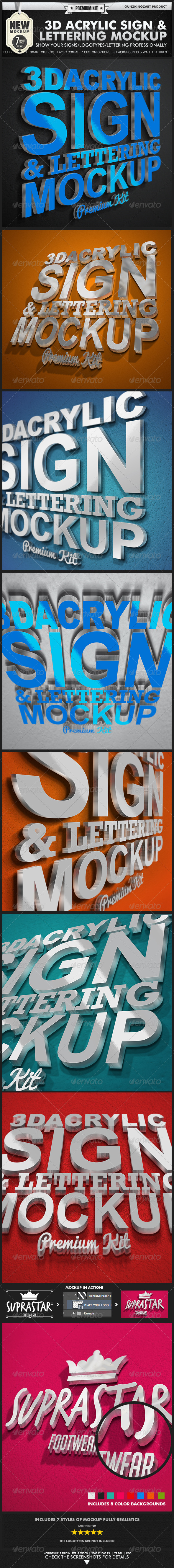 GraphicRiver 3D Acrylic Sign Mockup Premium Kit 2582248