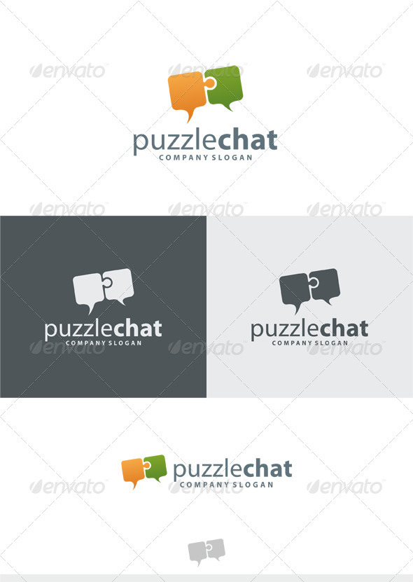 Puzzle Chat Logo - Vector Abstract