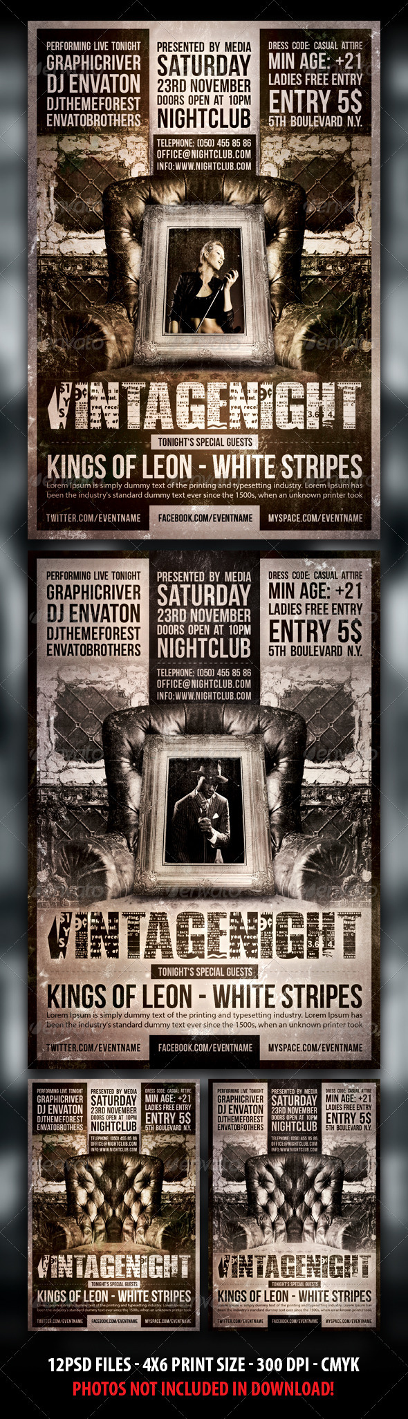 GraphicRiver Indie Vintage Party Concert Flyer 3797745