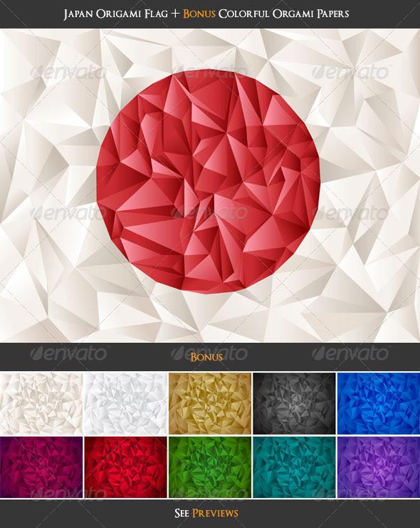 GraphicRiver Japan Flag Origami & Colorful Papers Bonus 409232