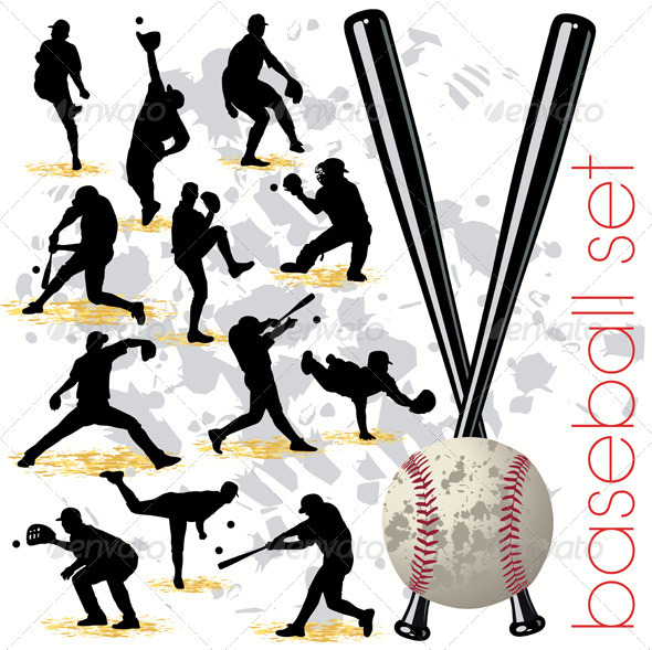 GraphicRiver Baseball Players Silhouettes Set 409289