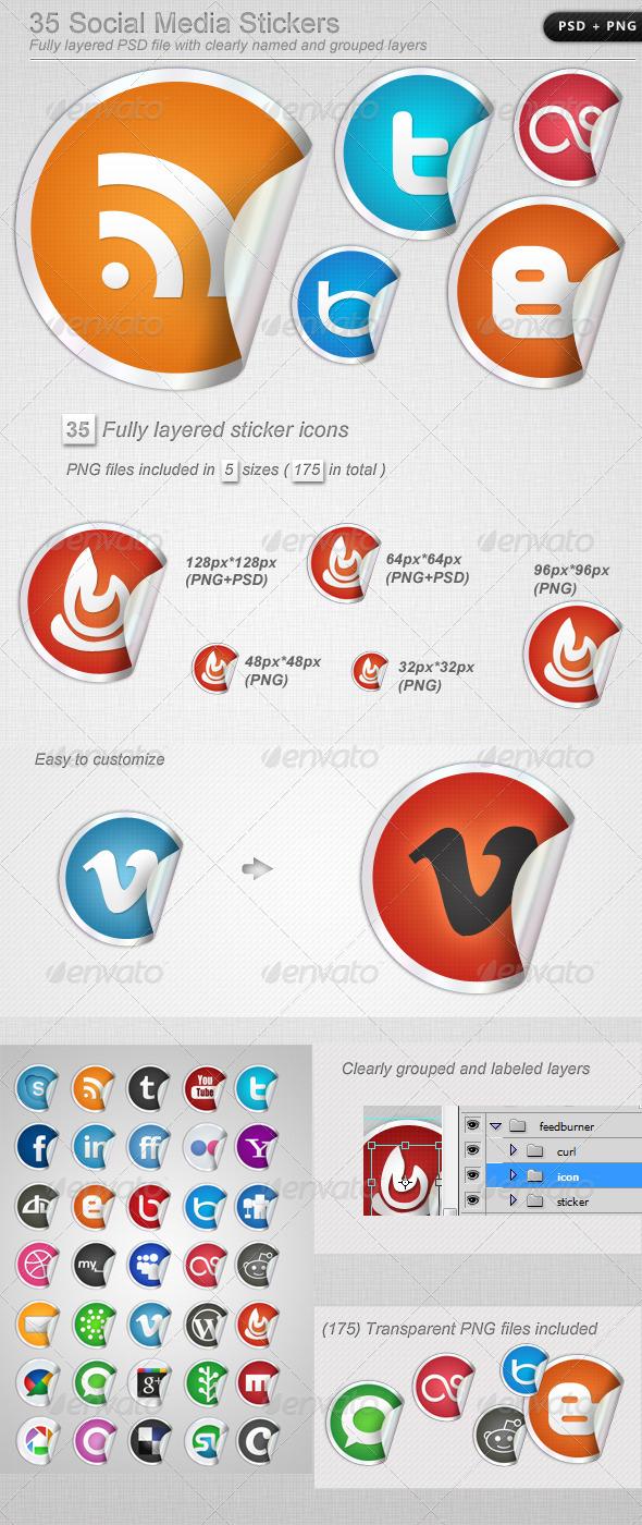 GraphicRiver 35 Social Media Stickers 405480