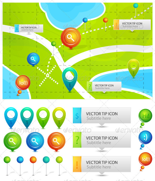 Vector map location icons - Travel Conceptual