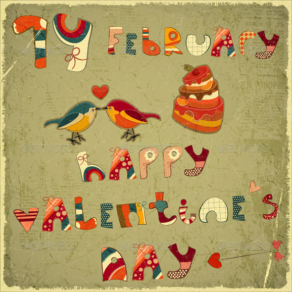 GraphicRiver Valentines Day Retro Card 3799929