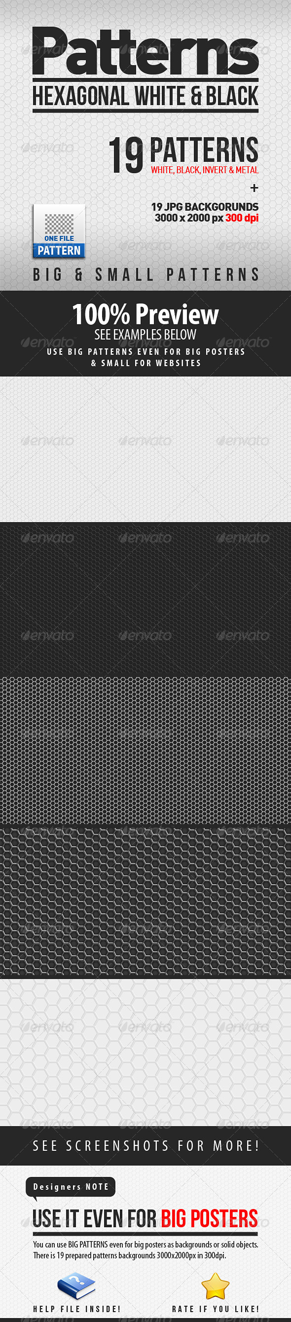 GraphicRiver 19 HEXagonal Patterns Big & Small 3800396