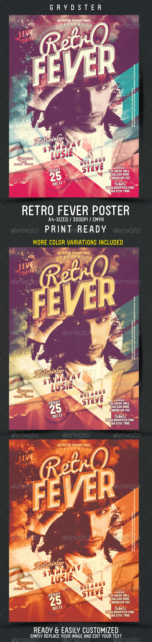 GraphicRiver Retro Fever Flyer Poster 3730864