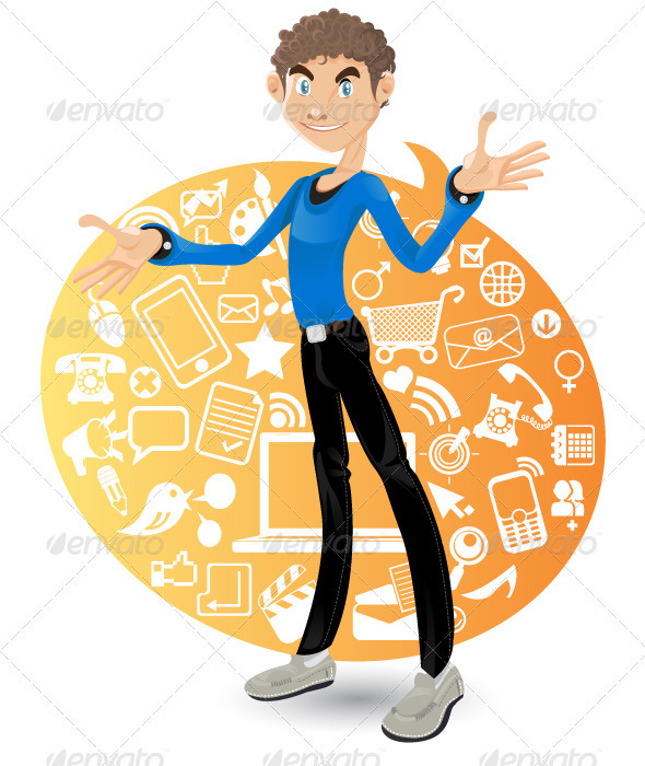 Social networking Boy - Characters Vectors
