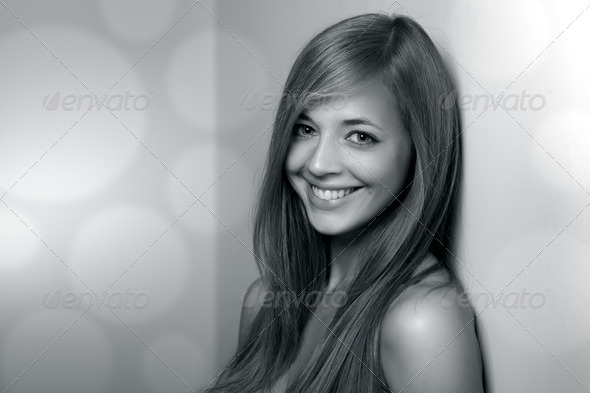 Beautiful girl. Black and white portrait - Stock Photo - Images