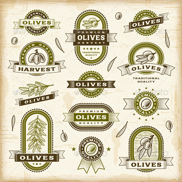 GraphicRiver Vintage Olive Labels Set 3802557