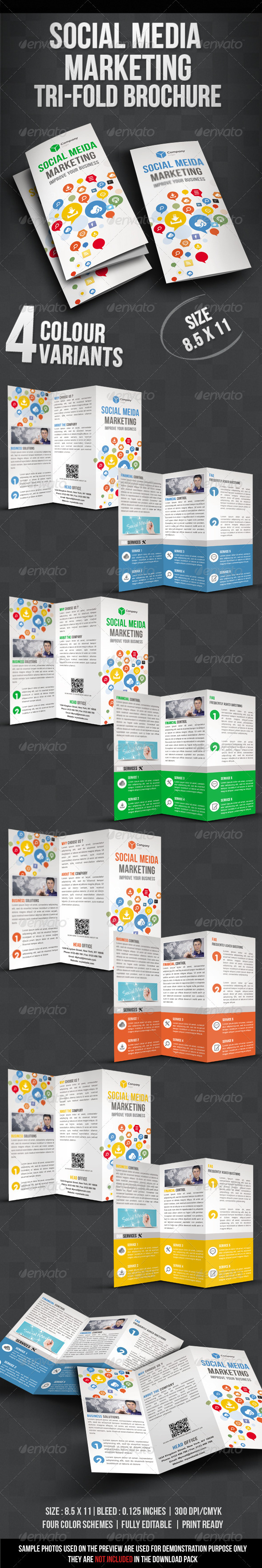 GraphicRiver Social Media Marketing Tri fold Brochure 3802560