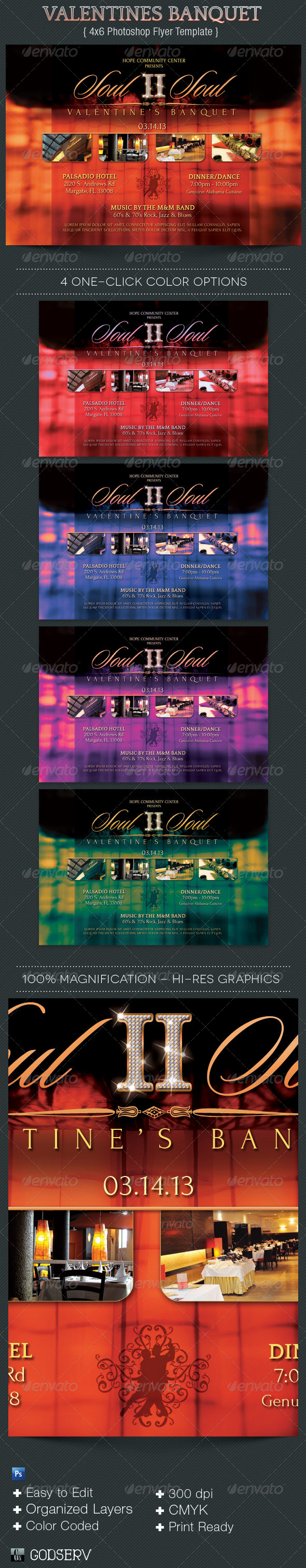 Valentines Banquet Flyer Template - Holidays Events