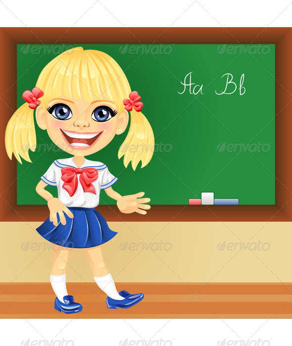 Vector Smiling Blonde Cute Schoolgirls - People Characters