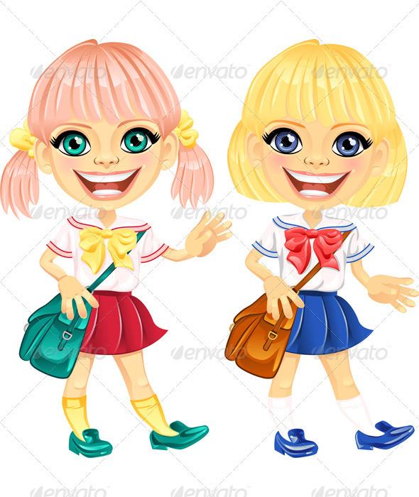 Vector Smiling Blonde Cute Schoolgirls - People Characters