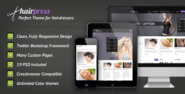 ThemeForest Hairpress HTML Template for Hair Salons 3803346