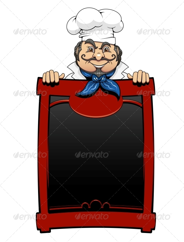 Italian Chef with Menu Board - People Characters