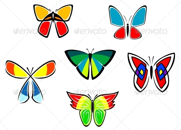 GraphicRiver Colorful Butterfly Icons and Tattoos 3803929