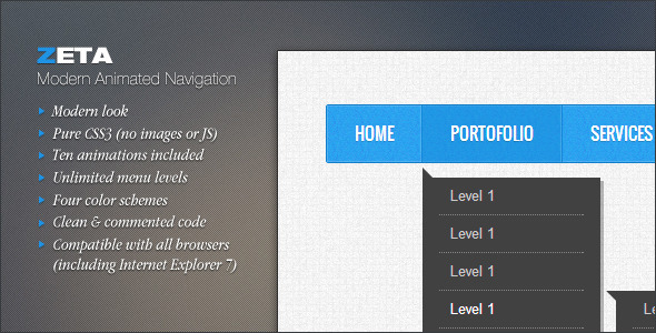 Zeta - Modern Animated Navigation - CodeCanyon Item for Sale