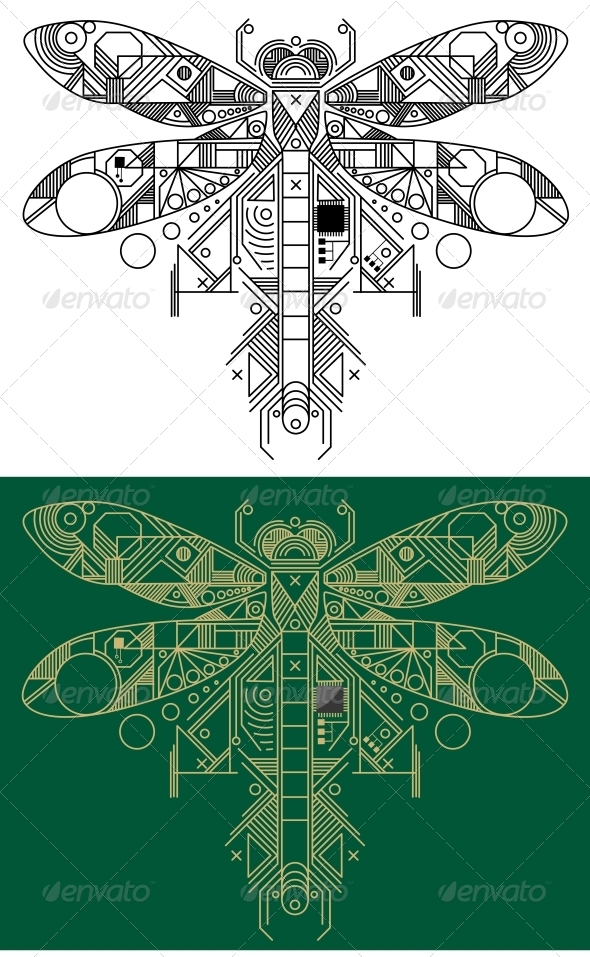 GraphicRiver Dragonfly with Computer Motherboard Elements 3804047