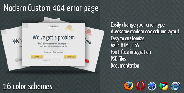 Modern Custom 404 Error Page