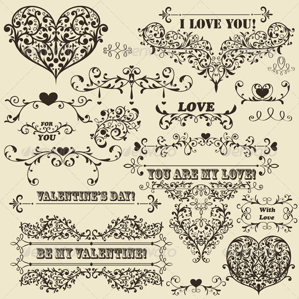GraphicRiver Vector Vintage Valentine s Design Elements 3805283