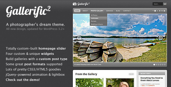 ThemeForest Gallerific Photography WordPress Theme 44682