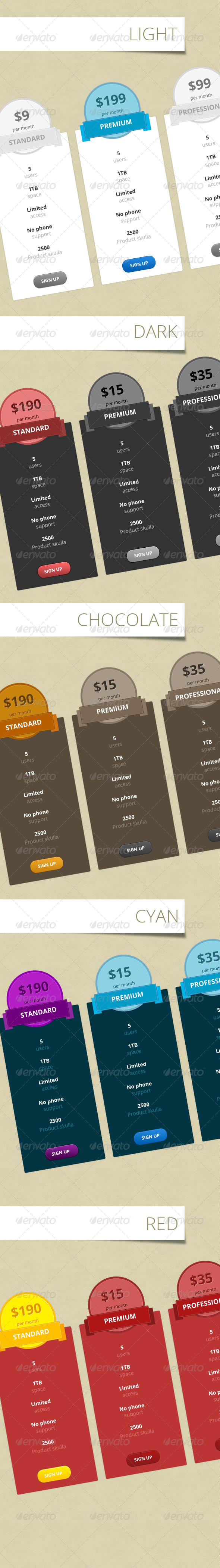 GraphicRiver Pricing Table 3806062
