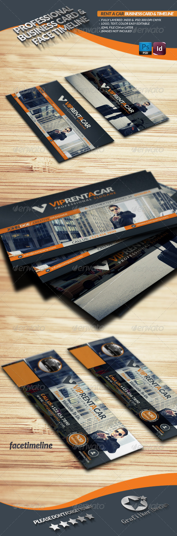 GraphicRiver Rent A Car Business Card & Face Timeline 3806273