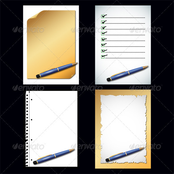 GraphicRiver Paper and Blue Pencil 3806501