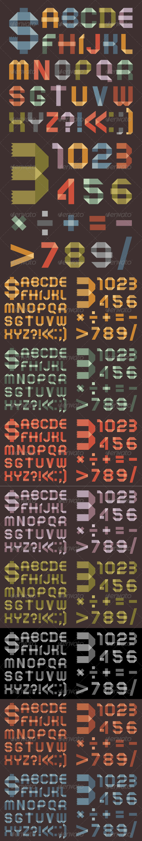 Font From Colored Scotch Tape - 8 Colors - Decorative Symbols Decorative