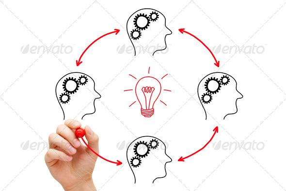 Teamwork Builds Big Idea - Stock Photo - Images