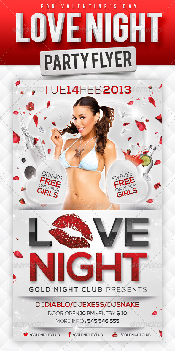 GraphicRiver Love Night Party Flyer 3807198
