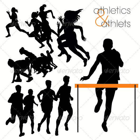 GraphicRiver Running Athlettes Silhouettes Set 410208