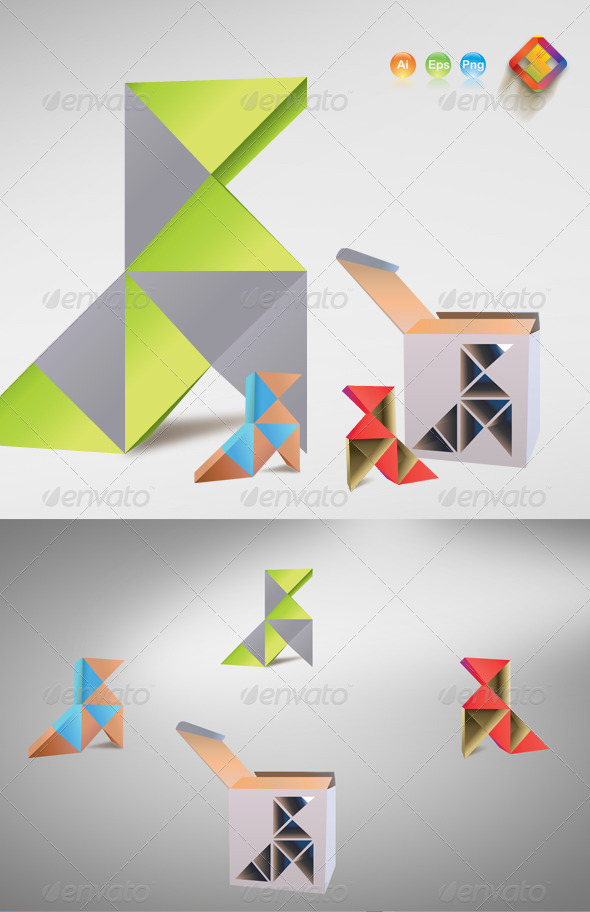 GraphicRiver 3D Style Vector Rubik s Birds 3808565