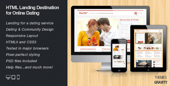 ThemeForest MeetMe Responsive Landingpage Dating Services 3722131