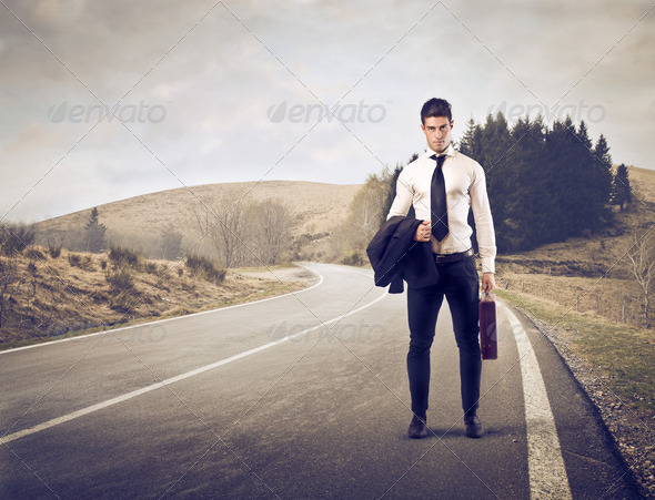 Businessman on a Road - Stock Photo - Images