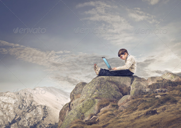 Laptop on the Mountain - Stock Photo - Images