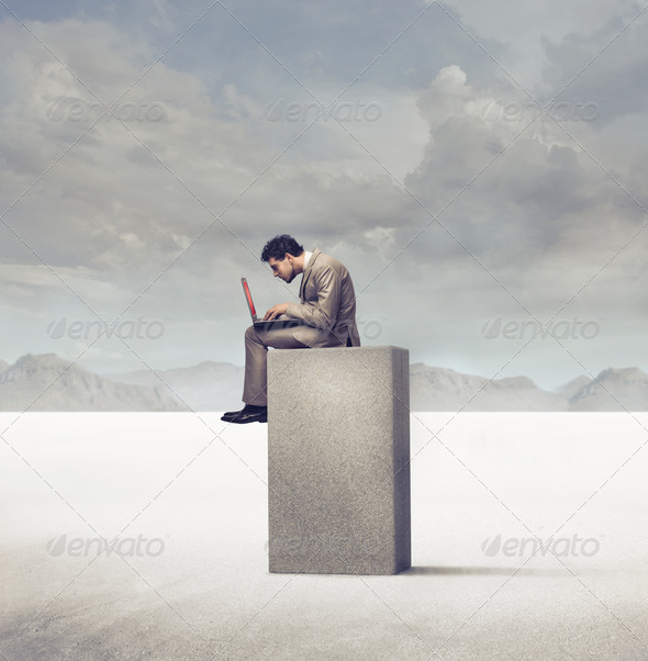 Working in the Desert - Stock Photo - Images