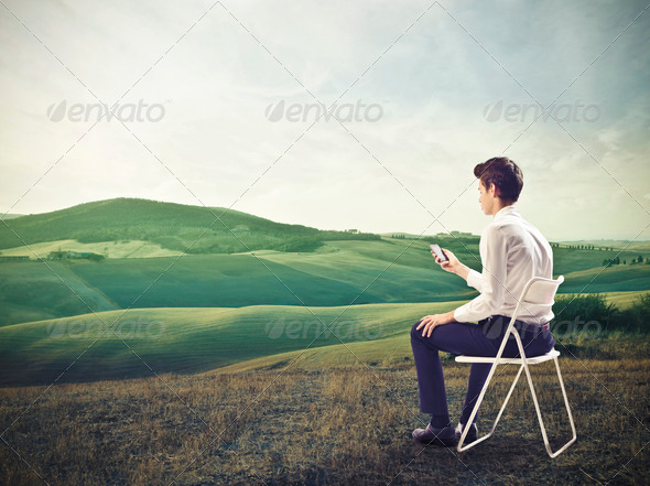 Mobile Phone in the Nature - Stock Photo - Images