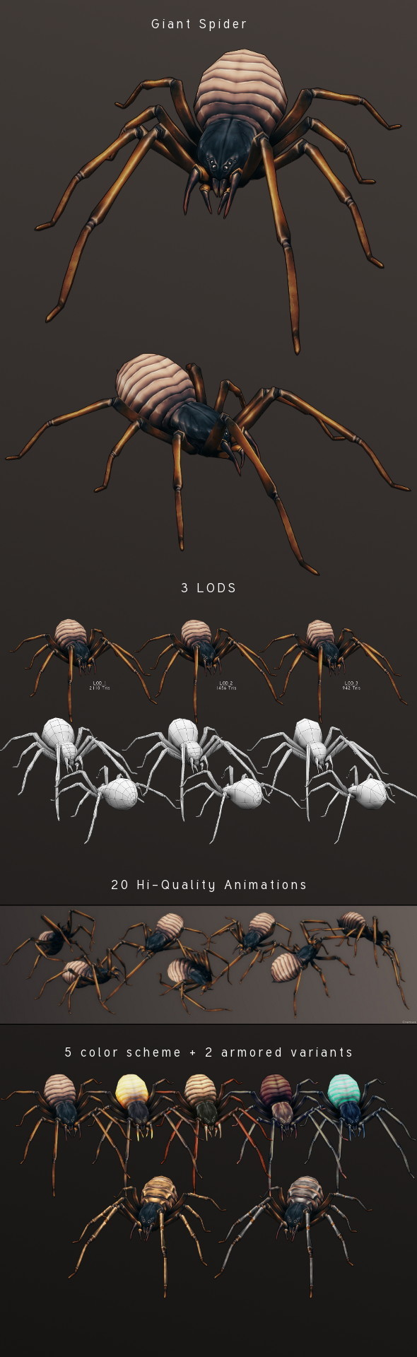 LowPoly HandPainted Giant Spider - 3DOcean Item for Sale
